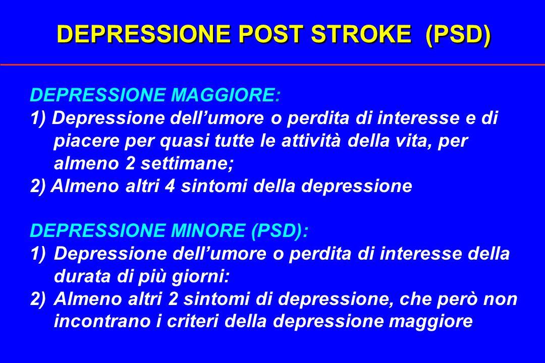 DEPRESSIONE POST STROKE (PSD) DEPRESSIONE MAGGIORE: 1) Depressione dellumore o perdita di interesse e di piacere per quasi tutte le attività della vit