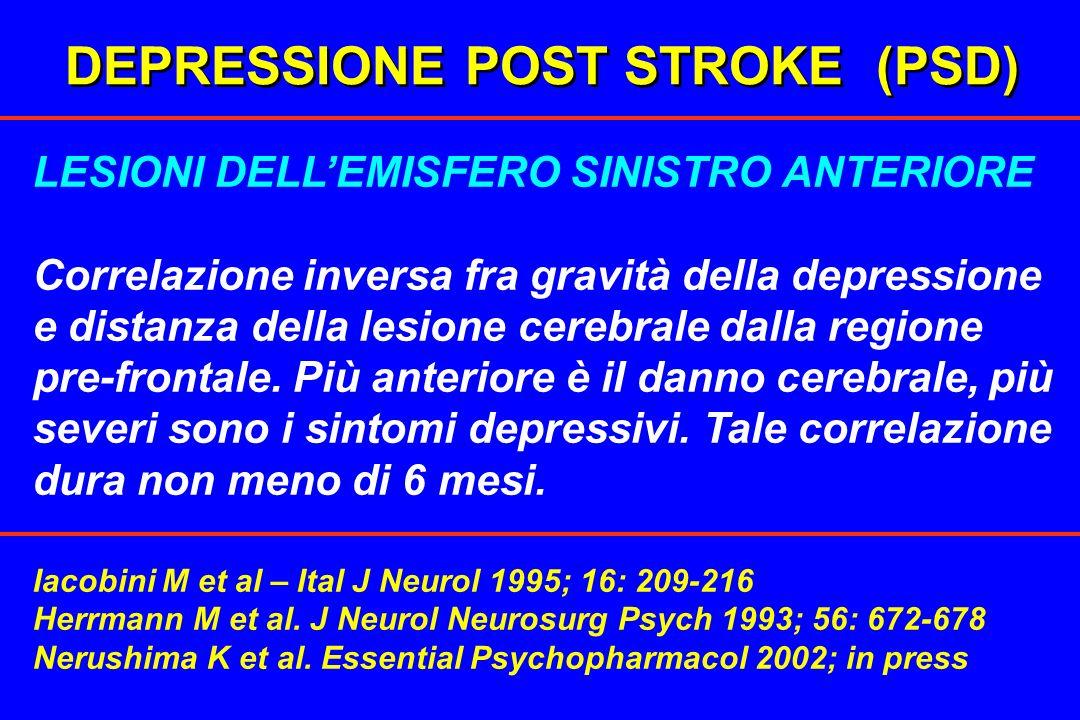 DEPRESSIONE POST STROKE (PSD) LESIONI DELLEMISFERO SINISTRO ANTERIORE Correlazione inversa fra gravità della depressione e distanza della lesione cere