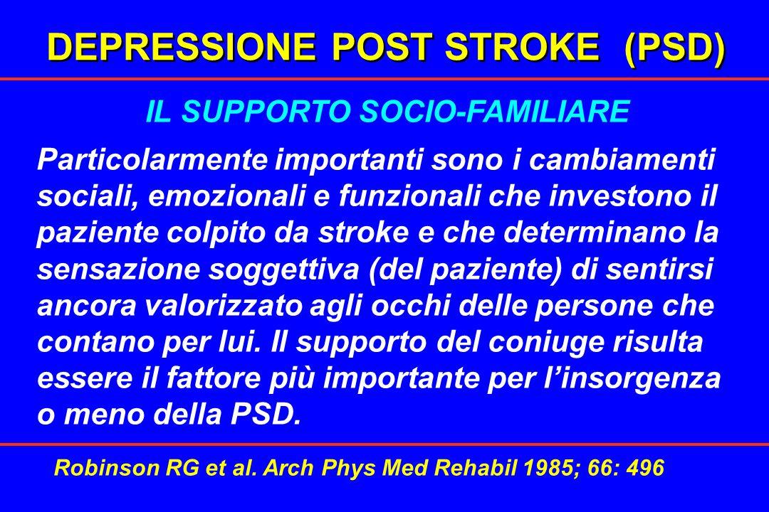 DEPRESSIONE POST STROKE (PSD) IL SUPPORTO SOCIO-FAMILIARE Particolarmente importanti sono i cambiamenti sociali, emozionali e funzionali che investono