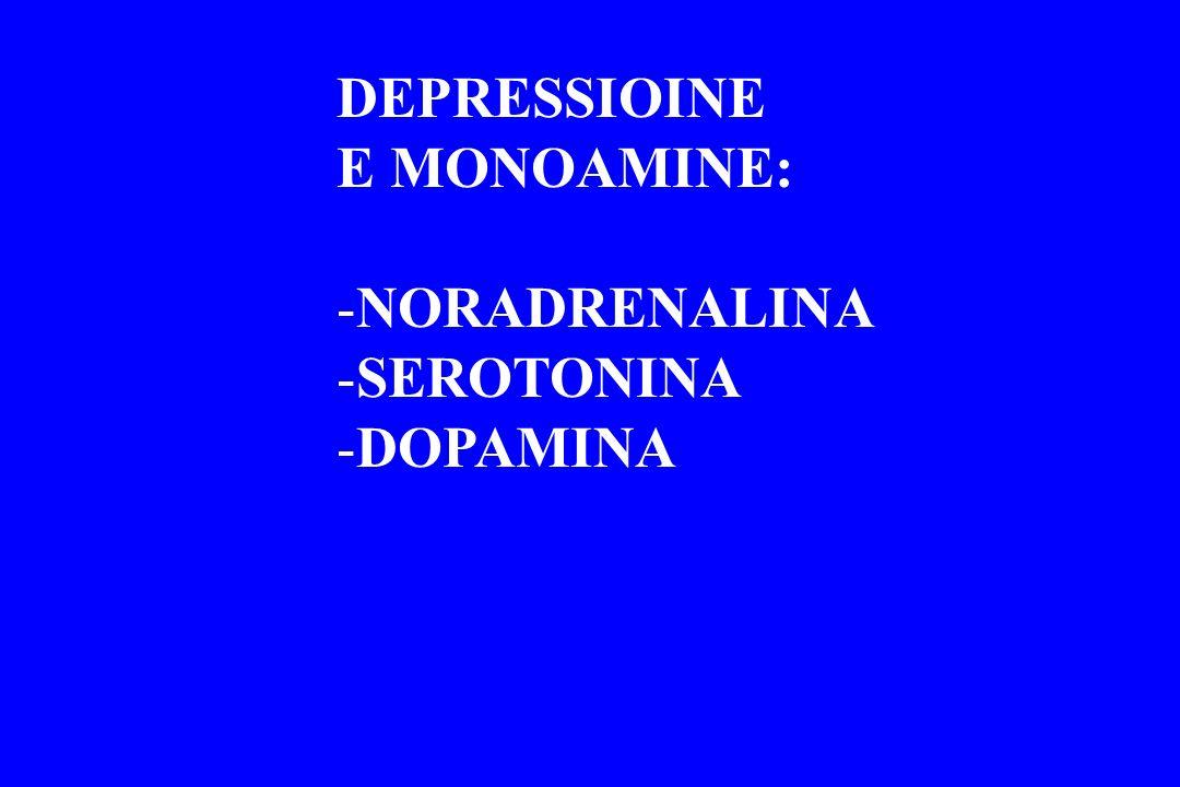 DEPRESSIOINE E MONOAMINE: -NORADRENALINA -SEROTONINA -DOPAMINA