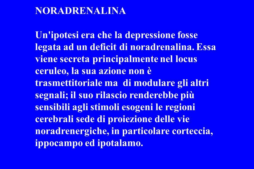 NORADRENALINA Un'ipotesi era che la depressione fosse legata ad un deficit di noradrenalina. Essa viene secreta principalmente nel locus ceruleo, la s