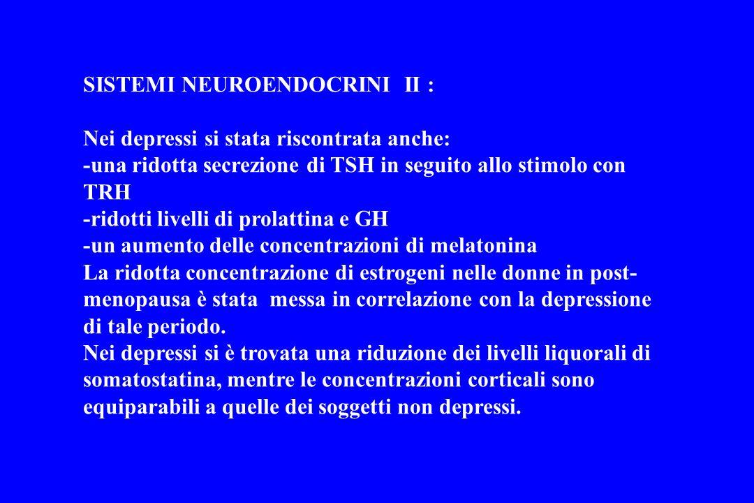 SISTEMI NEUROENDOCRINI II : Nei depressi si stata riscontrata anche: -una ridotta secrezione di TSH in seguito allo stimolo con TRH -ridotti livelli d
