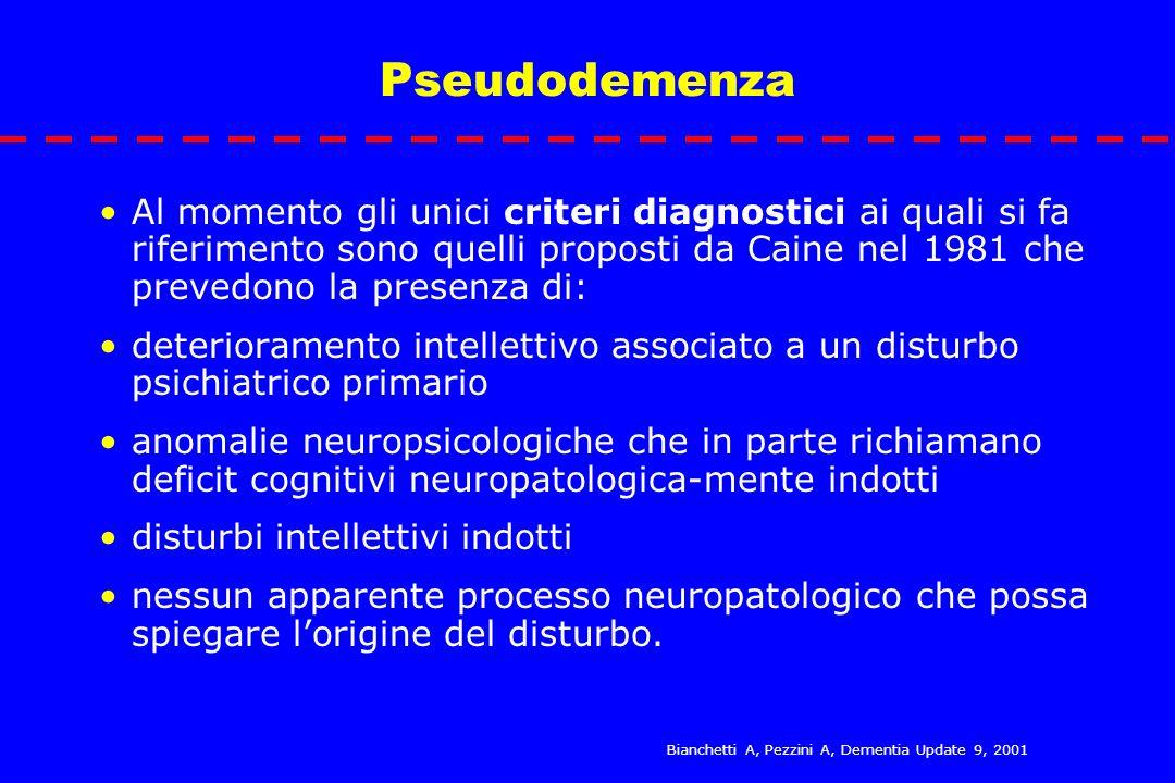 Pseudodemenza Al momento gli unici criteri diagnostici ai quali si fa riferimento sono quelli proposti da Caine nel 1981 che prevedono la presenza di: