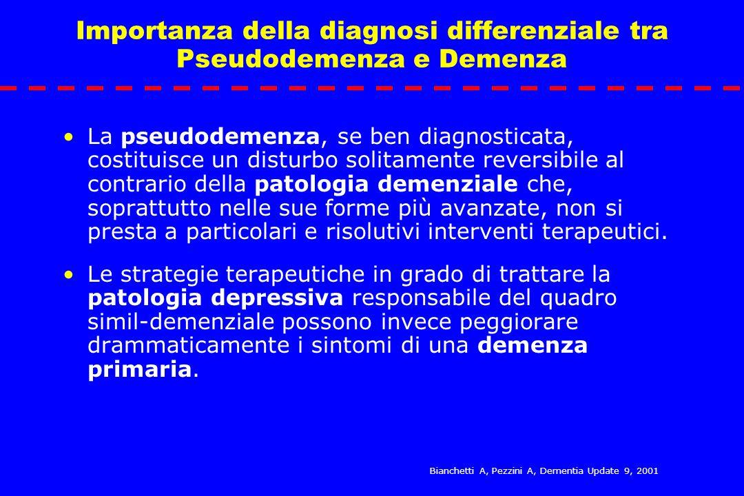 Importanza della diagnosi differenziale tra Pseudodemenza e Demenza La pseudodemenza, se ben diagnosticata, costituisce un disturbo solitamente revers