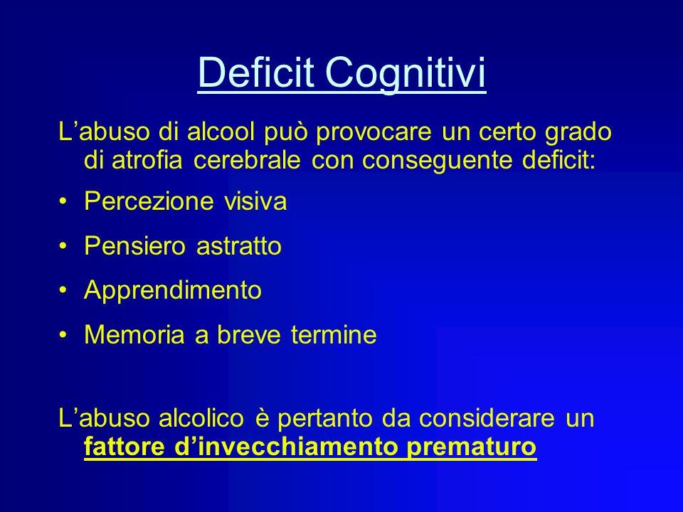 Deficit Cognitivi Non è del tutto chiaro il ruolo dellalcool nellinvecchiamento cerebrale. Sia esso il responsabile primario o un cofattore favorente,