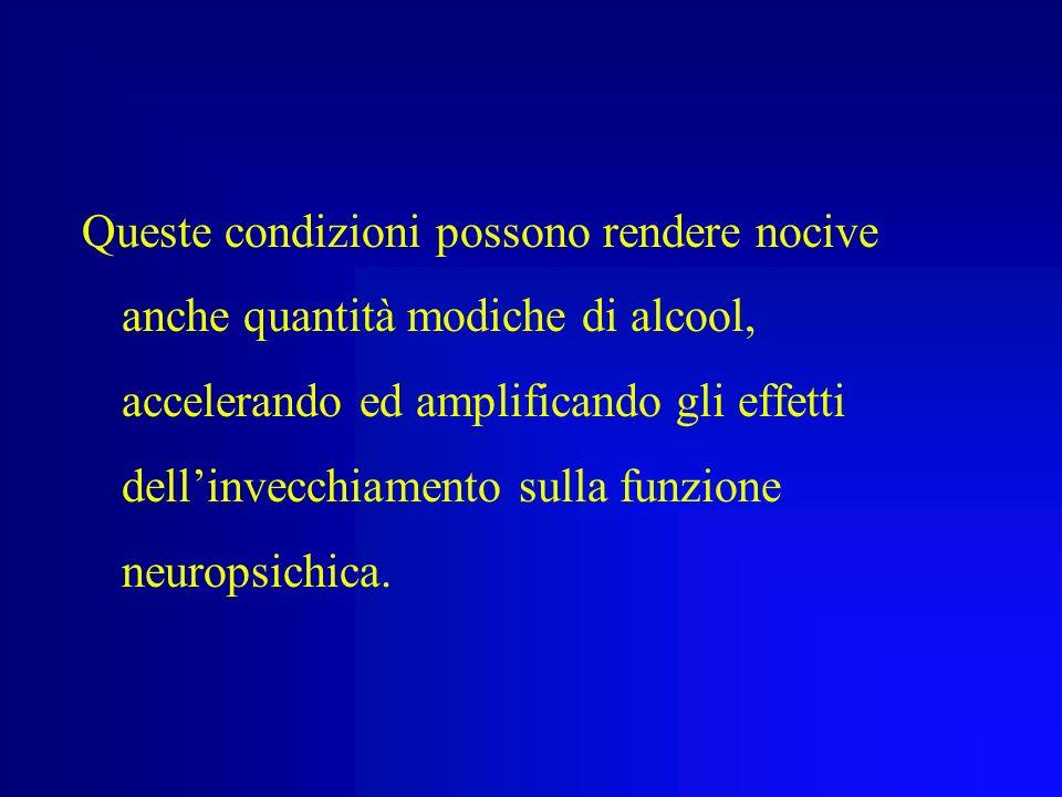 Invecchiamento e Corpo Nellanziano esistono condizioni capaci di modificare la concentrazione di alcool nel sangue: Riduzione della superficie corpore