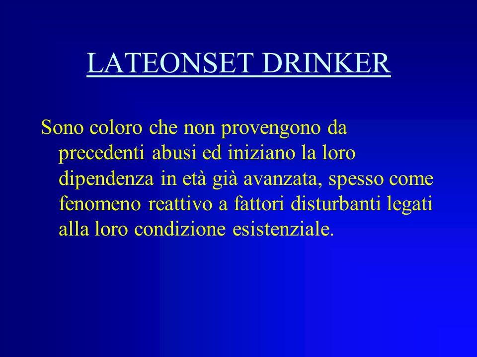 EARLYONSET DRINKER Sono coloro che hanno iniziato labuso alcolico in età giovanile-adulta e sono comunque riusciti a raggiungere unetà avanzata, evita