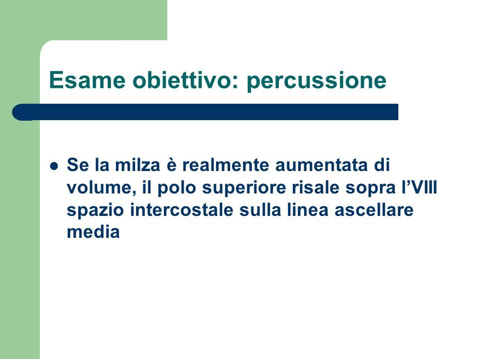 Esame obiettivo: percussione Se la milza è realmente aumentata di volume, il polo superiore risale sopra lVIII spazio intercostale sulla linea ascella