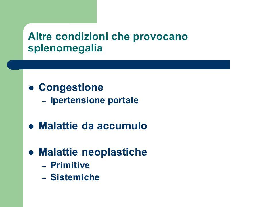 Altre condizioni che provocano splenomegalia Congestione – Ipertensione portale Malattie da accumulo Malattie neoplastiche – Primitive – Sistemiche