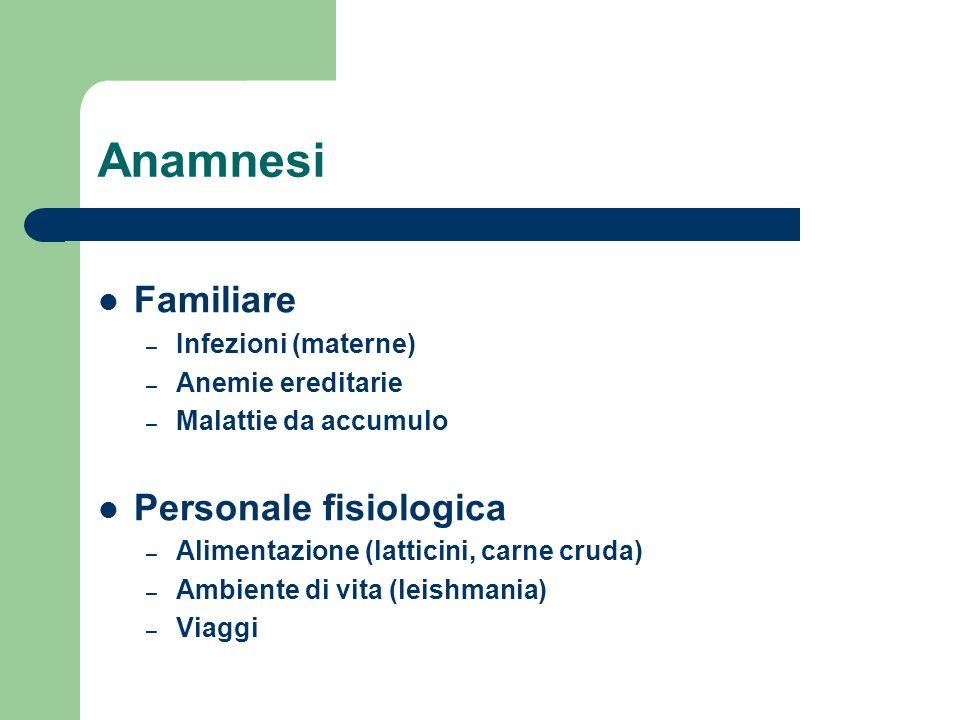 Anamnesi Familiare – Infezioni (materne) – Anemie ereditarie – Malattie da accumulo Personale fisiologica – Alimentazione (latticini, carne cruda) – A
