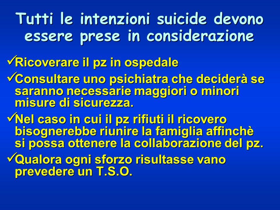 Tutti le intenzioni suicide devono essere prese in considerazione Ricoverare il pz in ospedale Ricoverare il pz in ospedale Consultare uno psichiatra