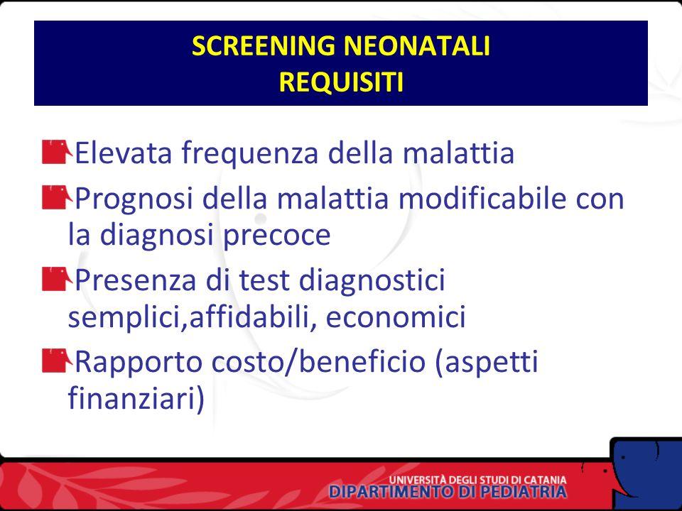 SCREENING NEONATALI REQUISITI Elevata frequenza della malattia Prognosi della malattia modificabile con la diagnosi precoce Presenza di test diagnostici semplici,affidabili, economici Rapporto costo/beneficio (aspetti finanziari)