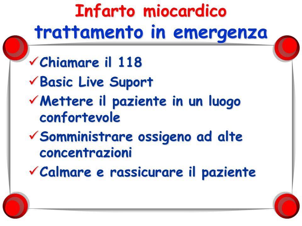 Infarto miocardico trattamento in emergenza Chiamare il 118 Chiamare il 118 Basic Live Suport Basic Live Suport Mettere il paziente in un luogo confor