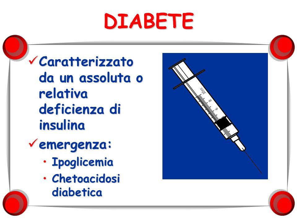 DIABETE Caratterizzato da un assoluta o relativa deficienza di insulina Caratterizzato da un assoluta o relativa deficienza di insulina emergenza: eme