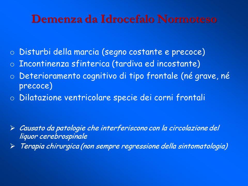 Demenza da Idrocefalo Normoteso o Disturbi della marcia (segno costante e precoce) o Incontinenza sfinterica (tardiva ed incostante) o Deterioramento