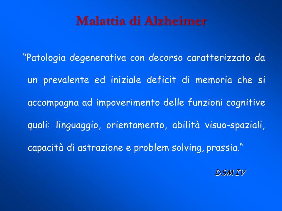 Malattia di Alzheimer Patologia degenerativa con decorso caratterizzato da un prevalente ed iniziale deficit di memoria che si accompagna ad impoverim