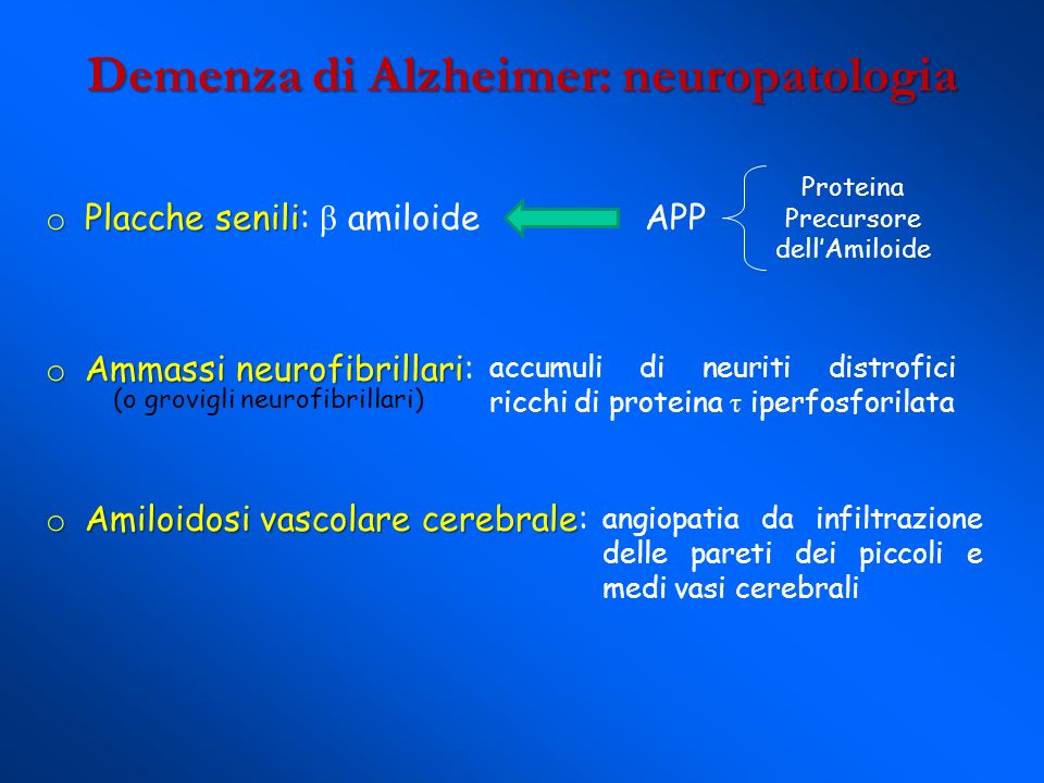 Demenza di Alzheimer: neuropatologia o Placche senili o Placche senili: β amiloide APP o Ammassi neurofibrillari o Ammassi neurofibrillari: o Amiloido