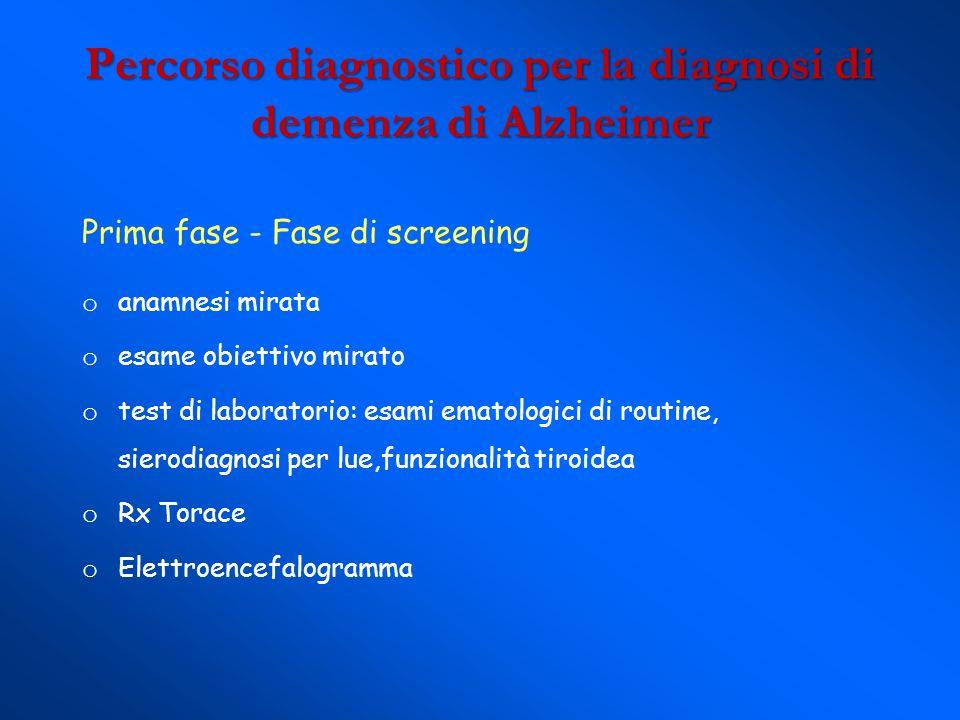 Percorso diagnostico per la diagnosi di demenza di Alzheimer Prima fase - Fase di screening o anamnesi mirata o esame obiettivo mirato o test di labor