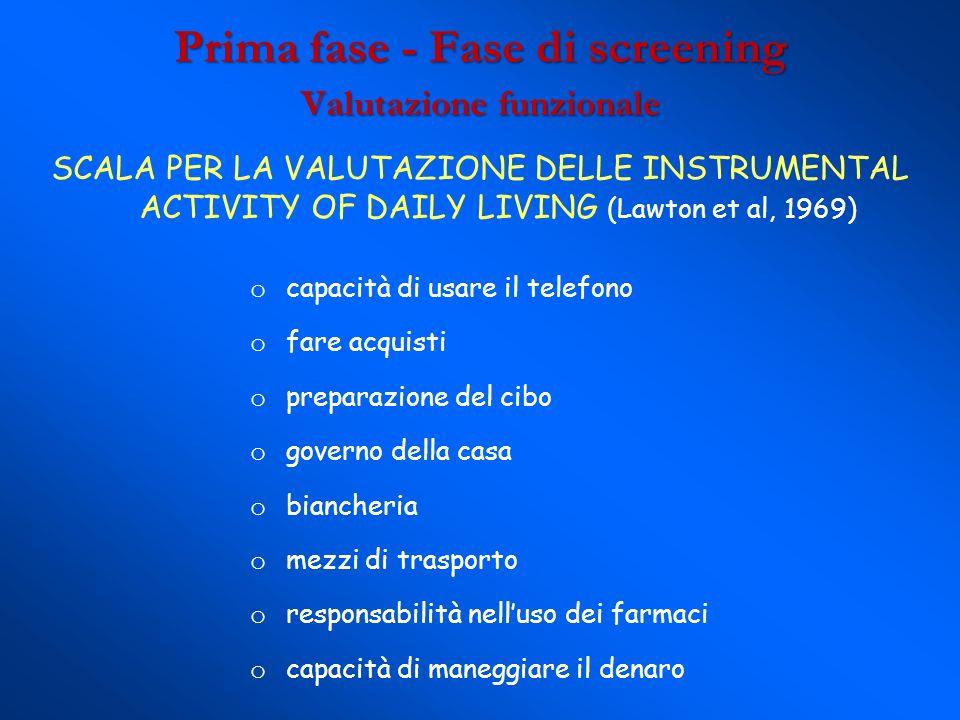 Prima fase - Fase di screening Valutazione funzionale SCALA PER LA VALUTAZIONE DELLE INSTRUMENTAL ACTIVITY OF DAILY LIVING (Lawton et al, 1969) o capa