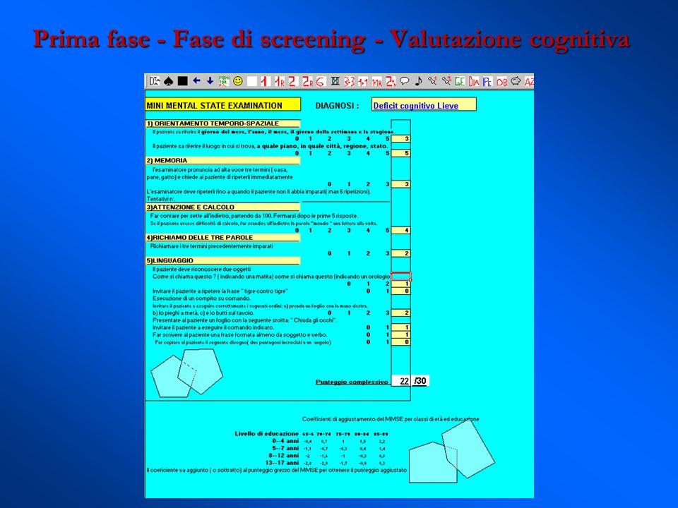 Prima fase - Fase di screening - Valutazione cognitiva