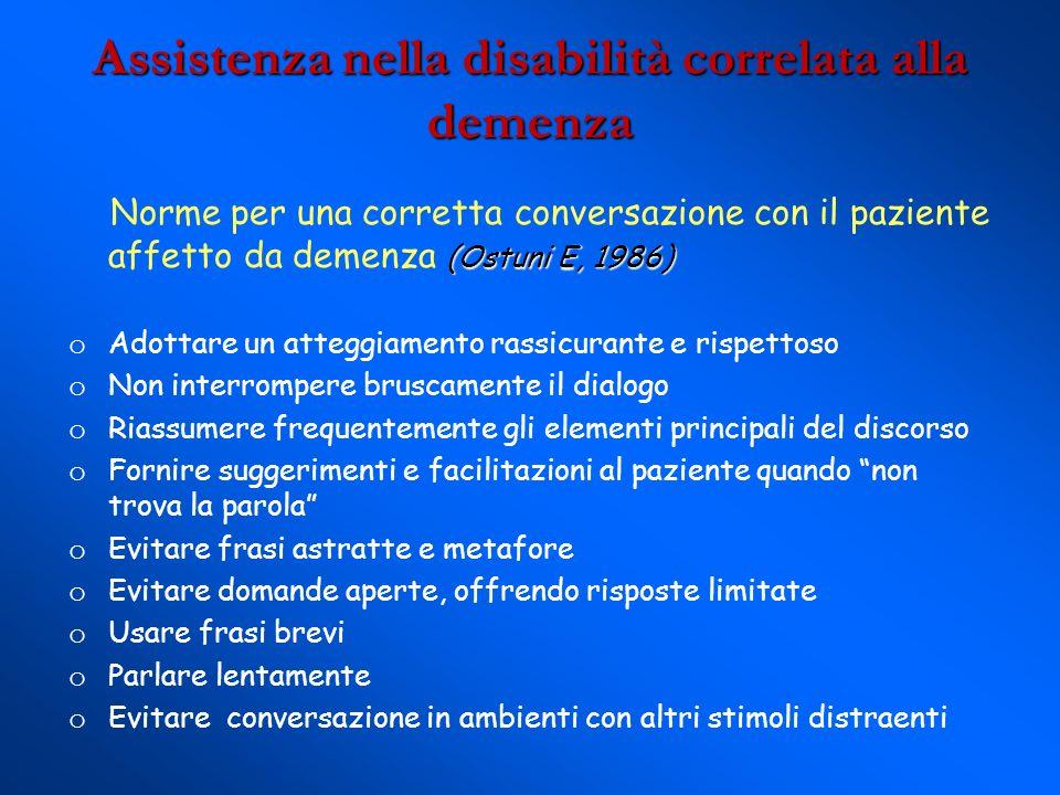 Assistenza nella disabilità correlata alla demenza (Ostuni E, 1986) Norme per una corretta conversazione con il paziente affetto da demenza (Ostuni E,