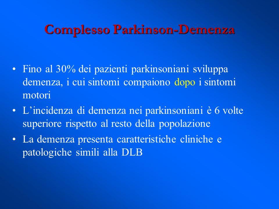 Fino al 30% dei pazienti parkinsoniani sviluppa demenza, i cui sintomi compaiono dopo i sintomi motori Lincidenza di demenza nei parkinsoniani è 6 vol