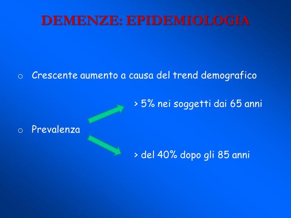 DEMENZE: EPIDEMIOLOGIA o Crescente aumento a causa del trend demografico > 5% nei soggetti dai 65 anni o Prevalenza > del 40% dopo gli 85 anni