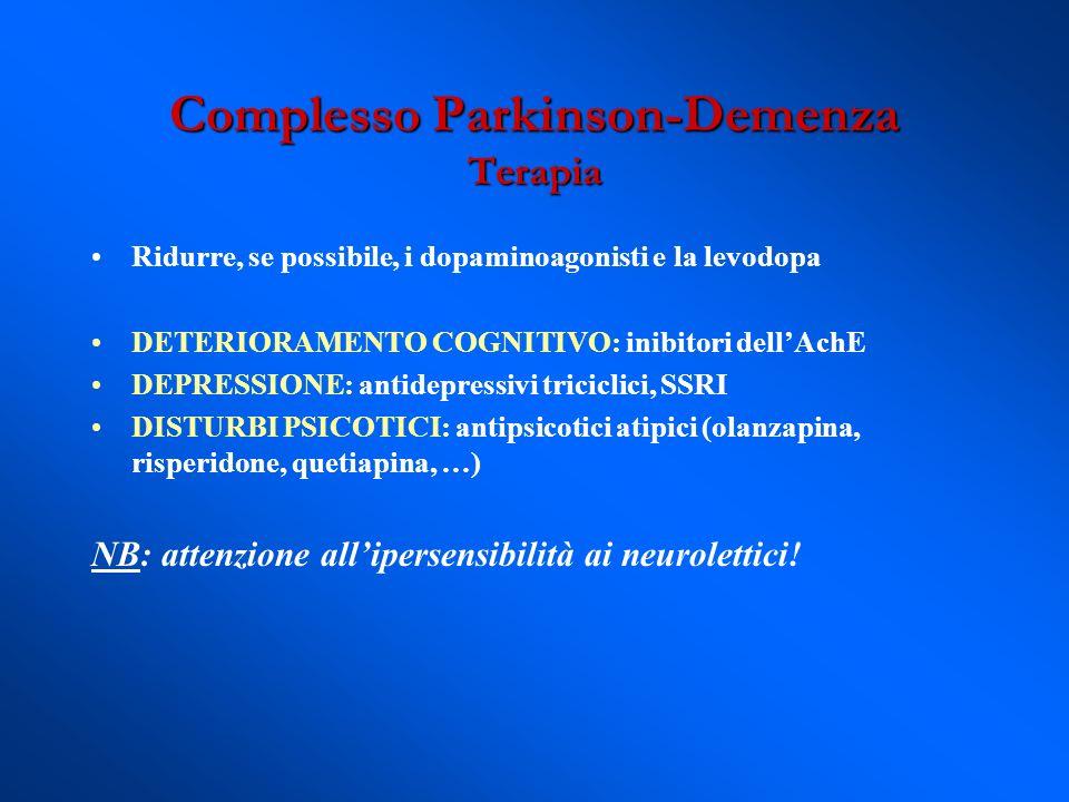 Ridurre, se possibile, i dopaminoagonisti e la levodopa DETERIORAMENTO COGNITIVO: inibitori dellAchE DEPRESSIONE: antidepressivi triciclici, SSRI DIST