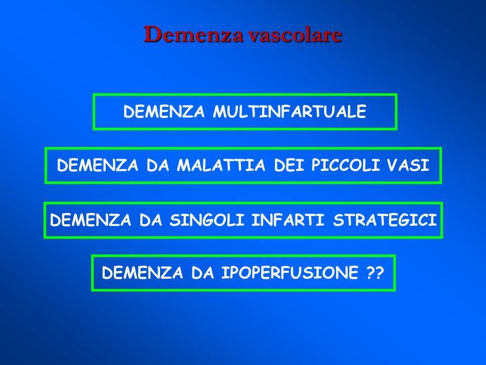 Demenza di Alzheimer: neuropatologia o Placche senili o Placche senili: β amiloide APP o Ammassi neurofibrillari o Ammassi neurofibrillari: o Amiloidosi vascolare cerebrale o Amiloidosi vascolare cerebrale: Proteina Precursore dellAmiloide (o grovigli neurofibrillari) accumuli di neuriti distrofici ricchi di proteina τ iperfosforilata angiopatia da infiltrazione delle pareti dei piccoli e medi vasi cerebrali