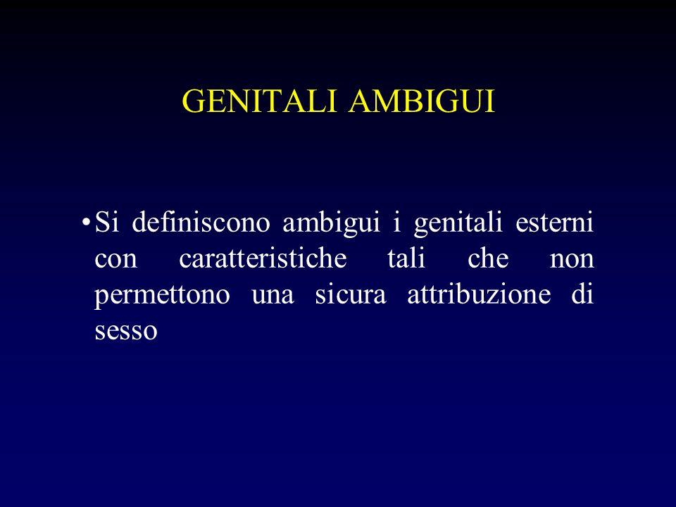 GENITALI AMBIGUI Ipertrofia clitoridea- grandi labbra nella norma - parziale fusione grandi labbra - seno urogenitale Formazione similpeniena- scroto disabitato Ipospadia Micropene Micropene e scroto disabitato Agenesia del pene Criptorchidismo