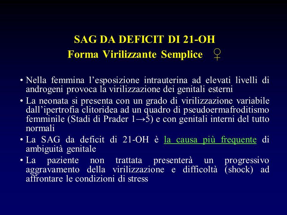 SAG DA DEFICIT DI 21-OH Forma Virilizzante Semplice Nella femmina lesposizione intrauterina ad elevati livelli di androgeni provoca la virilizzazione