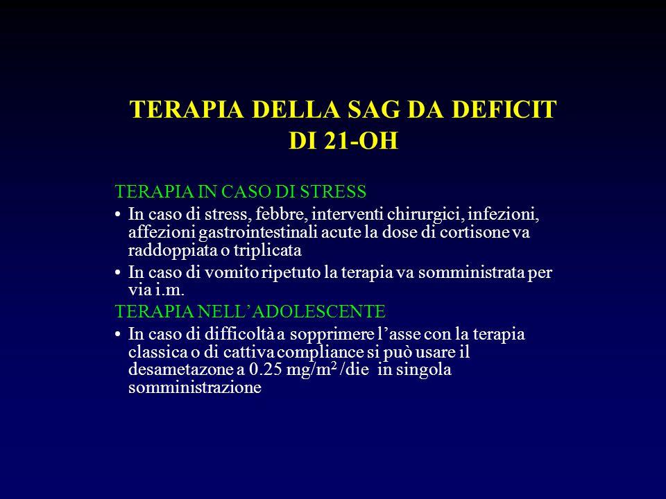 TERAPIA DELLA SAG DA DEFICIT DI 21-OH TERAPIA IN CASO DI STRESS In caso di stress, febbre, interventi chirurgici, infezioni, affezioni gastrointestina
