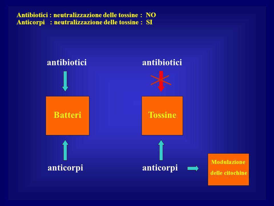 Batteri antibiotici anticorpi antibiotici anticorpi Modulazione delle citochine Antibiotici : neutralizzazione delle tossine : NO Anticorpi : neutralizzazione delle tossine : SI Tossine