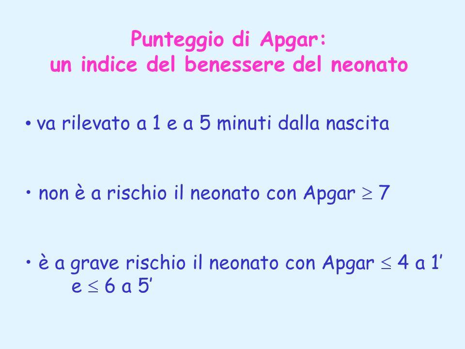 Punteggio di Apgar: un indice del benessere del neonato va rilevato a 1 e a 5 minuti dalla nascita non è a rischio il neonato con Apgar 7 è a grave ri