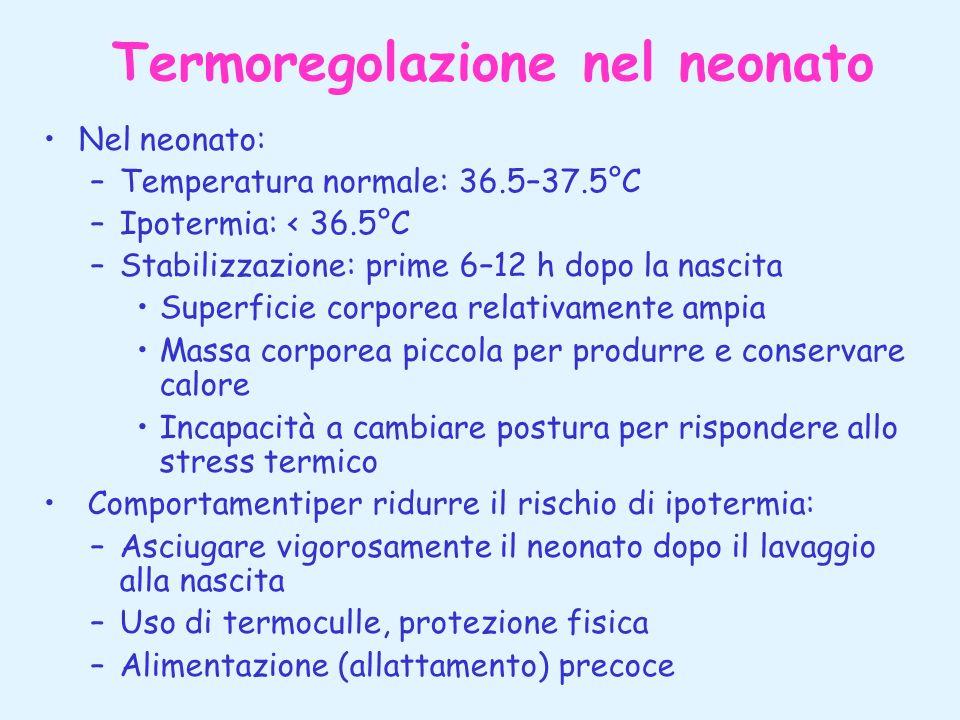 Termoregolazione nel neonato Nel neonato: –Temperatura normale: 36.5–37.5°C –Ipotermia: < 36.5°C –Stabilizzazione: prime 6–12 h dopo la nascita Superf