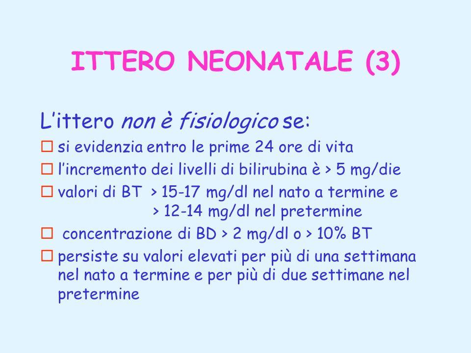 ITTERO NEONATALE (3) Littero non è fisiologico se: ¨si evidenzia entro le prime 24 ore di vita ¨lincremento dei livelli di bilirubina è > 5 mg/die ¨va