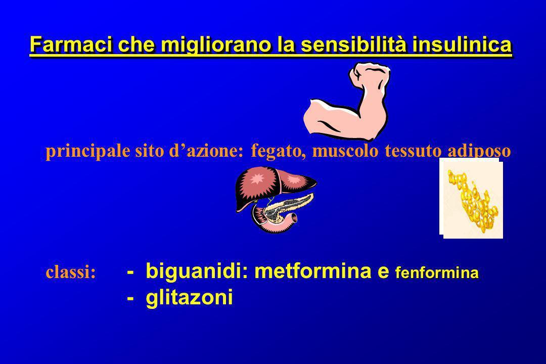 principale sito dazione: fegato, muscolo tessuto adiposo fenformina classi: - biguanidi: metformina e fenformina - glitazoni Farmaci che migliorano la