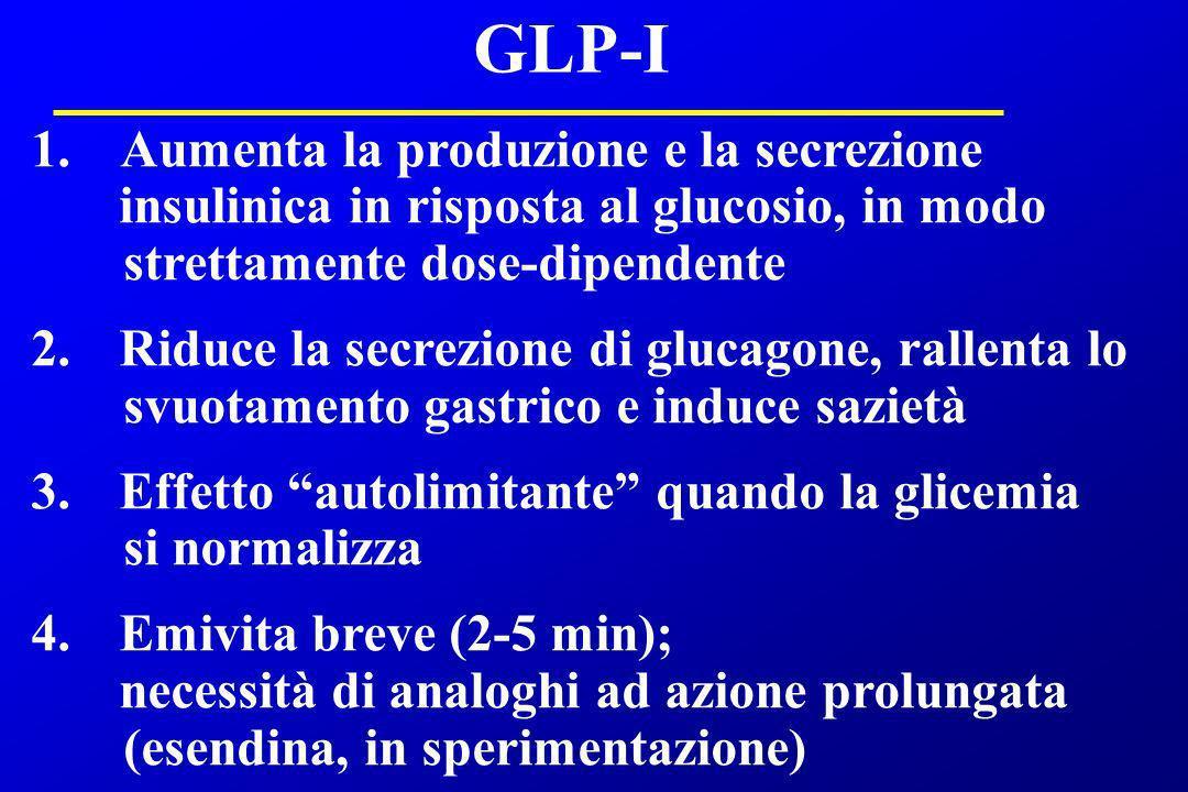 GLP-I 1. Aumenta la produzione e la secrezione insulinica in risposta al glucosio, in modo strettamente dose-dipendente 2. Riduce la secrezione di glu