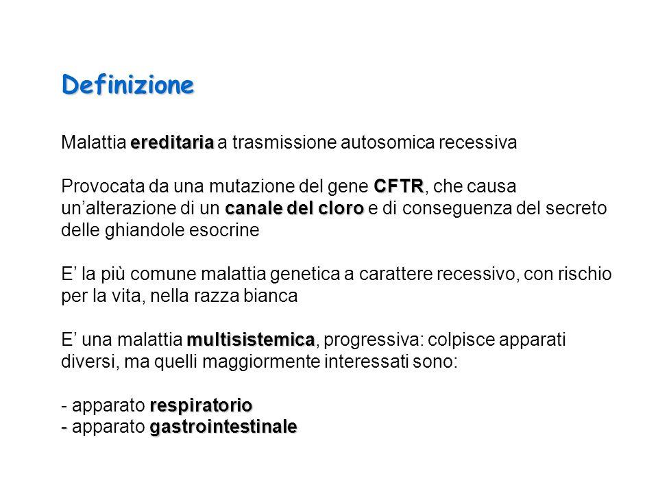 Definizione ereditaria Malattia ereditaria a trasmissione autosomica recessiva CFTR canale del cloro Provocata da una mutazione del gene CFTR, che cau