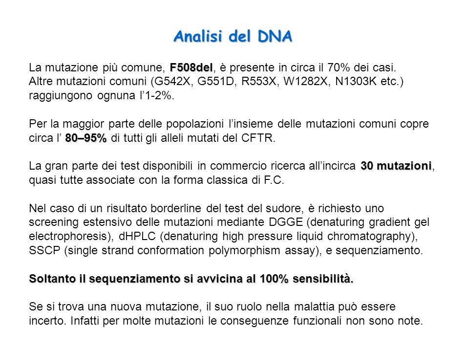 F508del La mutazione più comune, F508del, è presente in circa il 70% dei casi. Altre mutazioni comuni (G542X, G551D, R553X, W1282X, N1303K etc.) raggi