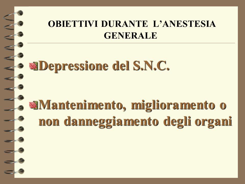 OBIETTIVI DURANTE LANESTESIA GENERALE Depressione del S.N.C.