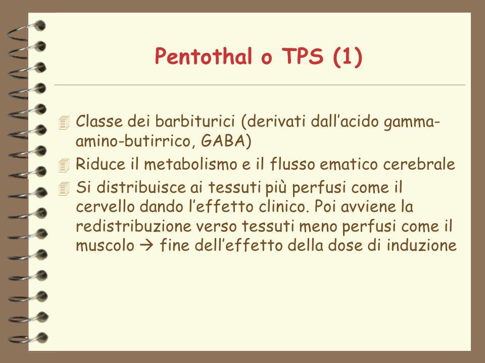 Pentothal o TPS (1) 4 Classe dei barbiturici (derivati dallacido gamma- amino-butirrico, GABA) 4 Riduce il metabolismo e il flusso ematico cerebrale 4 Si distribuisce ai tessuti più perfusi come il cervello dando leffetto clinico.