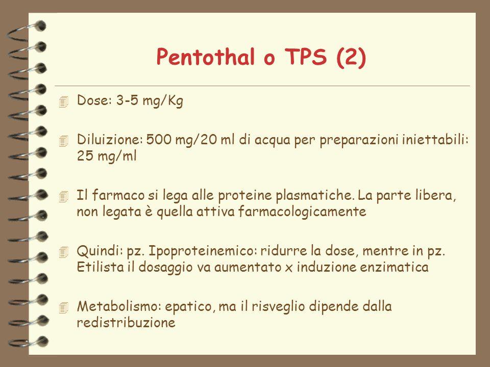 Pentothal o TPS (2) 4 Dose: 3-5 mg/Kg 4 Diluizione: 500 mg/20 ml di acqua per preparazioni iniettabili: 25 mg/ml 4 Il farmaco si lega alle proteine plasmatiche.