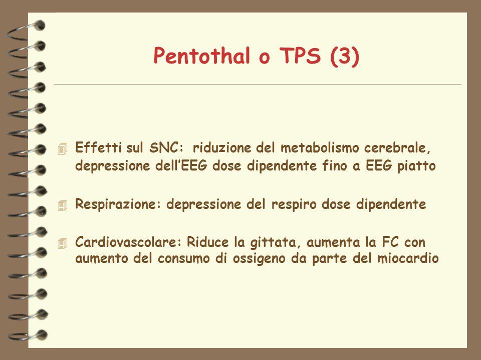 Pentothal o TPS (3) 4 Effetti sul SNC: riduzione del metabolismo cerebrale, depressione dellEEG dose dipendente fino a EEG piatto 4 Respirazione: depressione del respiro dose dipendente 4 Cardiovascolare: Riduce la gittata, aumenta la FC con aumento del consumo di ossigeno da parte del miocardio