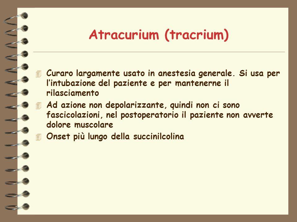 Atracurium (tracrium) 4 Curaro largamente usato in anestesia generale.