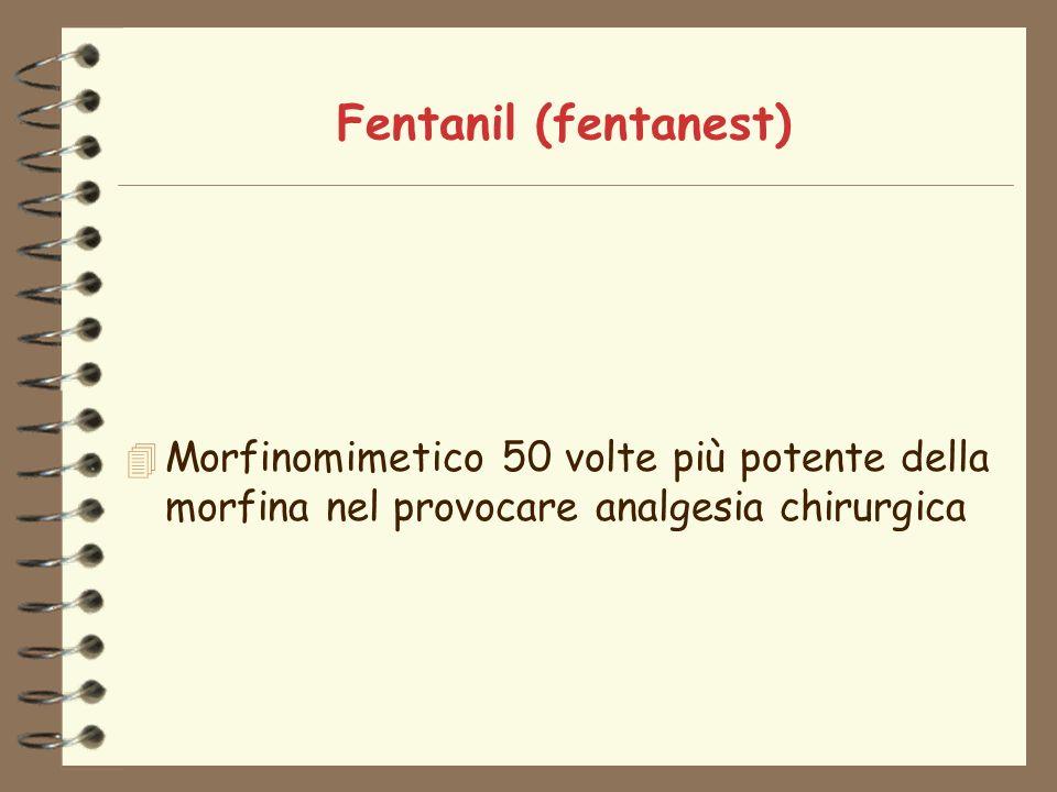 Fentanil (fentanest) 4 Morfinomimetico 50 volte più potente della morfina nel provocare analgesia chirurgica