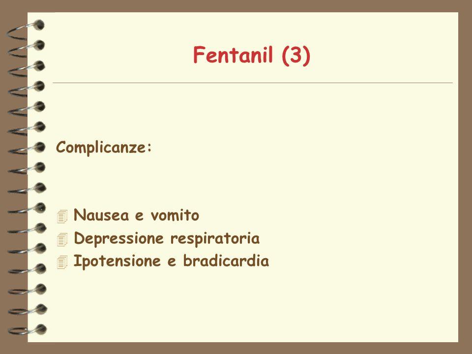 Fentanil (3) Complicanze: 4 Nausea e vomito 4 Depressione respiratoria 4 Ipotensione e bradicardia