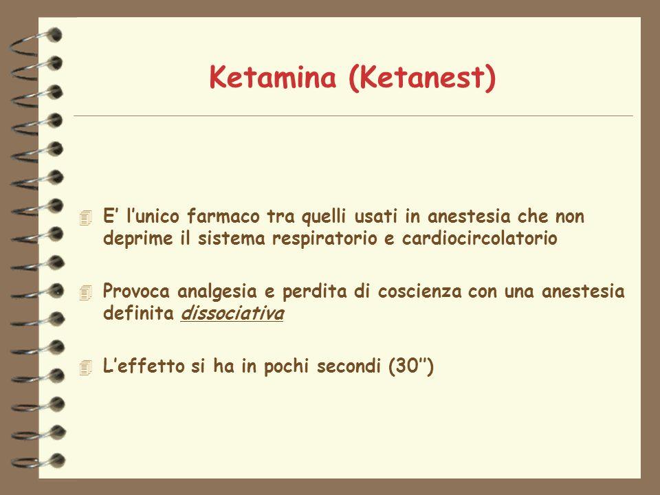 Ketamina (Ketanest) 4 E lunico farmaco tra quelli usati in anestesia che non deprime il sistema respiratorio e cardiocircolatorio 4 Provoca analgesia e perdita di coscienza con una anestesia definita dissociativa 4 Leffetto si ha in pochi secondi (30)