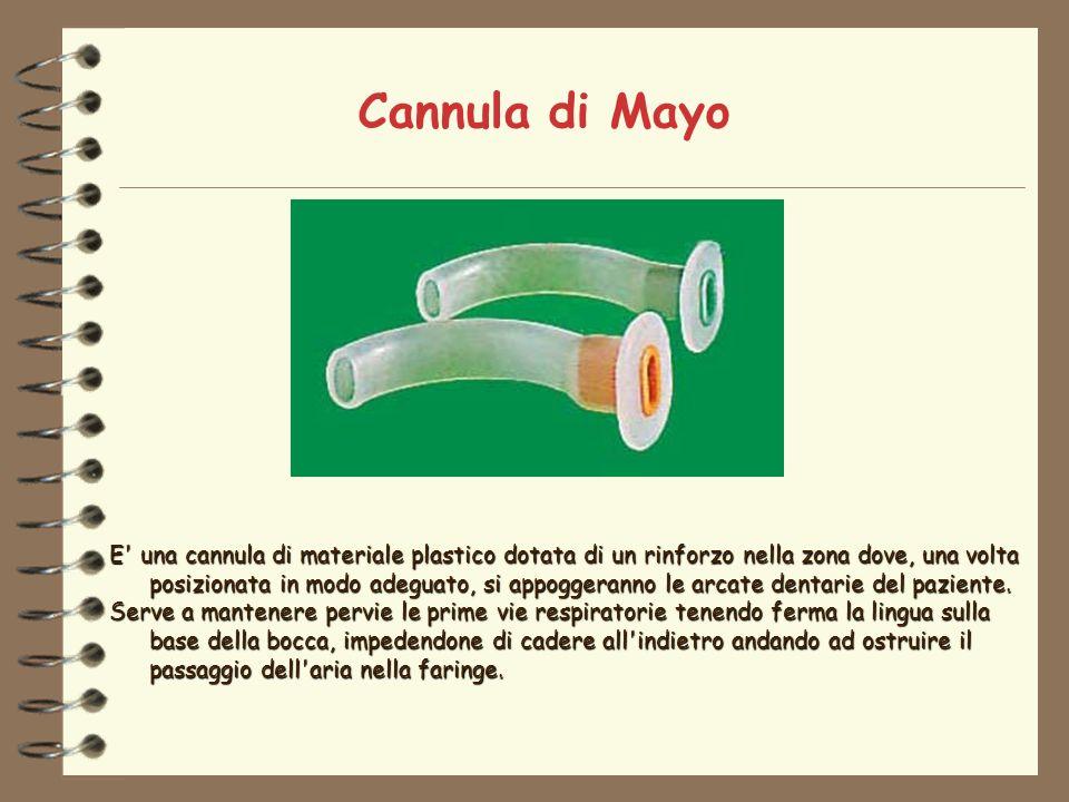 Cannula di Mayo E una cannula di materiale plastico dotata di un rinforzo nella zona dove, una volta posizionata in modo adeguato, si appoggeranno le arcate dentarie del paziente.