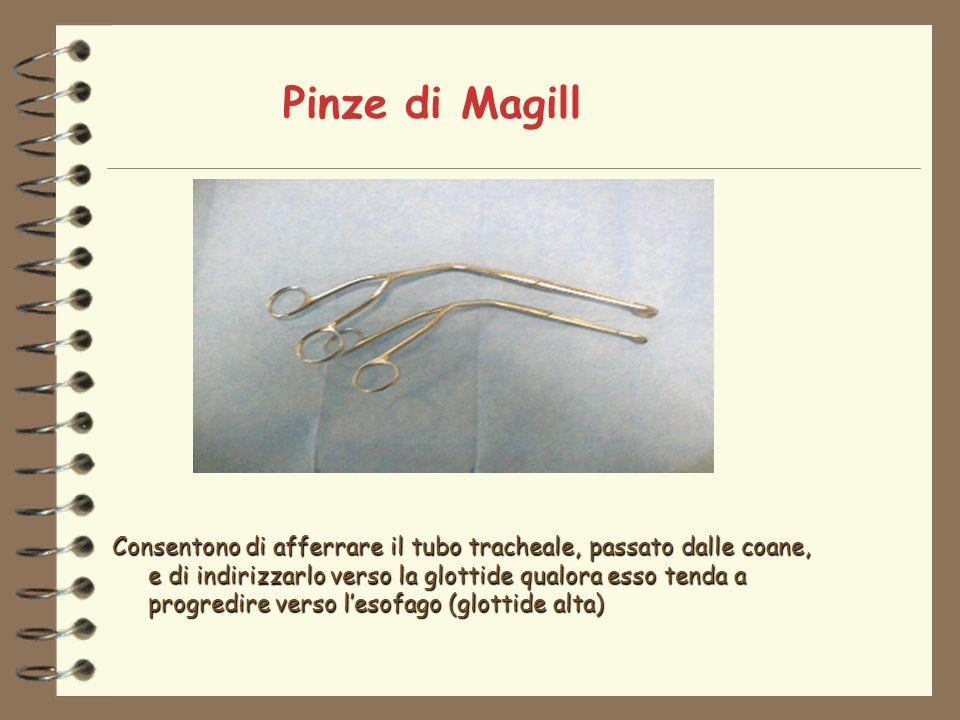 Pinze di Magill Consentono di afferrare il tubo tracheale, passato dalle coane, e di indirizzarlo verso la glottide qualora esso tenda a progredire verso lesofago (glottide alta)